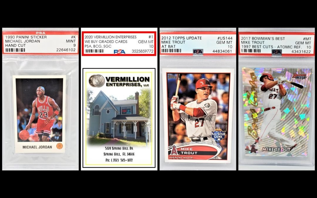Vermillion Enterprises is buying sports cards and memorabilia. Graded sports cards, pre-1980 raw cards, autographed and authenticated memorabilia. PSA, BGS, SGC - Serving Brooksville, Crystal River, Dade City, Floral City, Gainesville, Holiday FL, Homosassa, Hudson FL, Inverness FL, Land O Lakes, Lecanto, Lutz FL, New Port Richey, Odessa FL, Ocala, Palm Harbor, Spring Hill, Tampa, Tarpon Springs, Wesley Chapel, Zephyrhills 352-585-9772