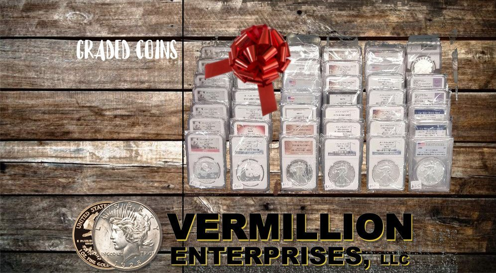 Vermillion Enterprises - Holiday Gift Buying Guide! Buy Silver & Gold - Bullion & Coins this Holiday Season - Skip the gift cards and socks. Give them something they can invest in - silver and gold - coins, bullion - bars and rounds. graded coins, american silver eagles, american gold eagles, monster boxes, 90% silver, 40% silver - Serving Spring Hill, Brooksville, Crystal River, Dade City, Floral City, Inverness, Holiday, Homosassa, Hudson, Jacksonville, Land O Lakes, Lecanto, Lutz, Miami, Daytona Beach, Orlando, Kissimmee, Palm Harbor, Tarpon Springs, Tampa, Lakeland, New Port Richey, Port Richey, Odessa, Wesley Chapel, Zephyrhills - throughout Florida!!! Call today or visit us online! 352-585-9772; www.vermillion-enterprises.com/shopv
